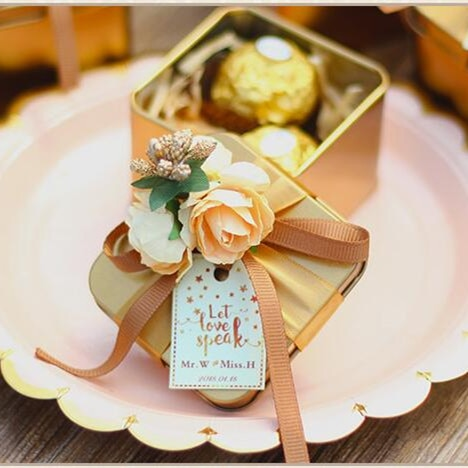 Wedding Favor Boxes.Red And Gold Wedding Party Favor Candy Boxes 50pcs